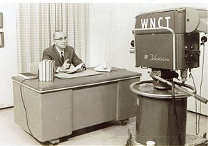 "WNCT-TV - The Rev. William J. Hadden, Jr., on the set for his television program, ""Lessons for Learning,"" on WNCT-TV from 1961-1966."