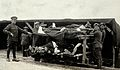 WWI; Pushvillers, France; wounded soldiers on a trolley Wellcome V0030779.jpg