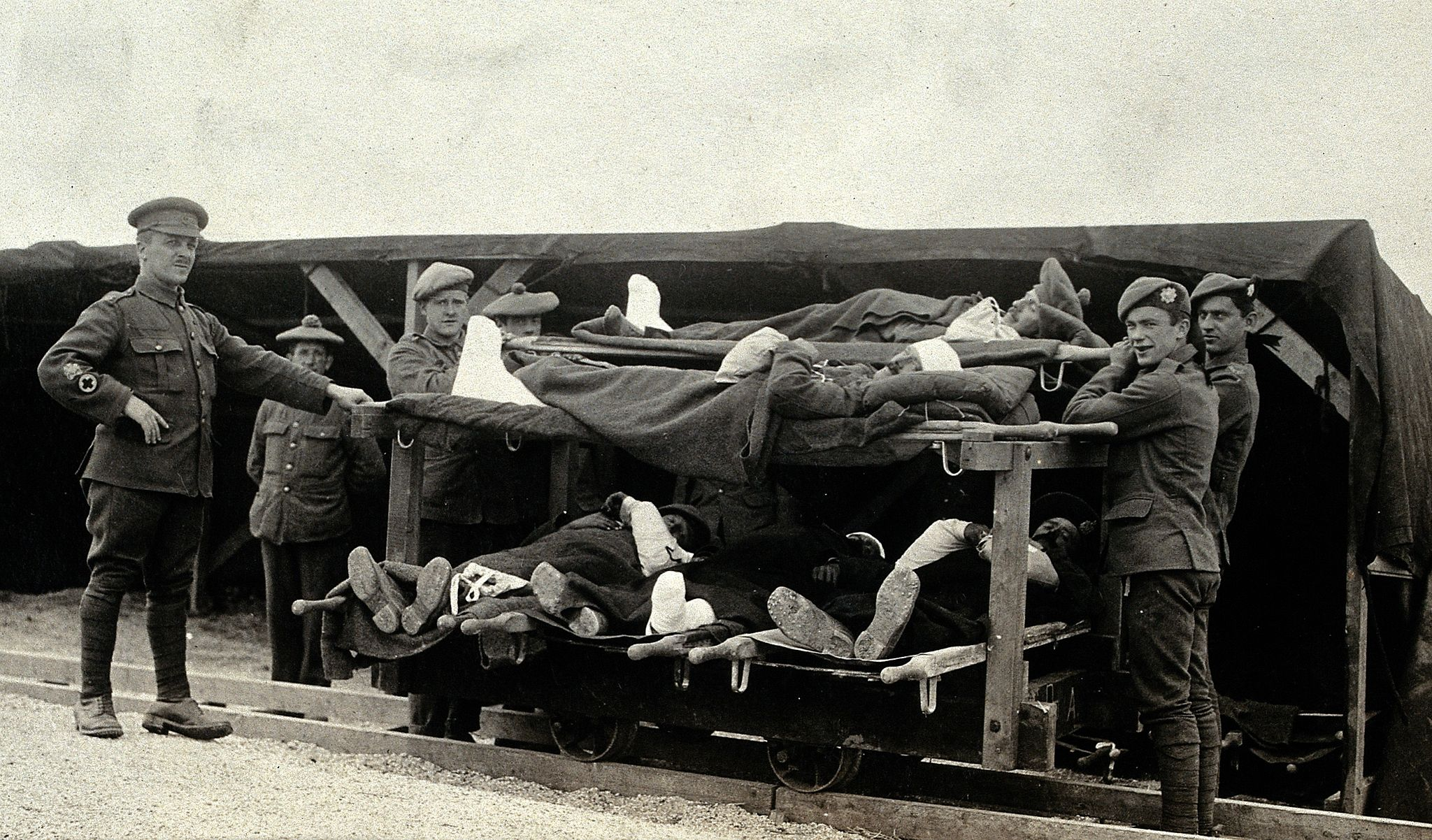 WWI; Pushvillers, France; wounded soldiers on a trolley Wellcome V0030779