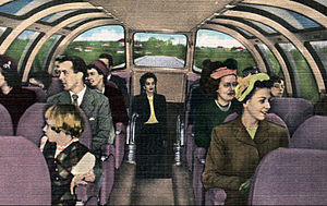 """Blue Bird (train) - Interior of one of the """"Vista-Dome"""" dome coaches on the Blue Bird."""