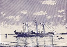 Lithograph of a large steamboat with smokestack and two sails.