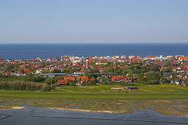 Wangerooge from the air, approaching the island from the south