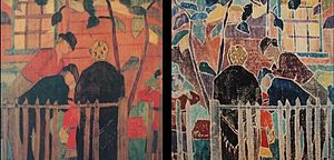 Agnes Weinrich - Broken Fence by Agnes Weinrich, a white-line woodblock made on or before 1917; at left:   the woodblock itself; at right: a print pulled from the woodblook.