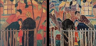 Provincetown Printers - Agnes Weinrich, Broken Fence, a white-line woodblock made in or before 1917; at left: the woodblock itself; at right: a print pulled from the woodblook.