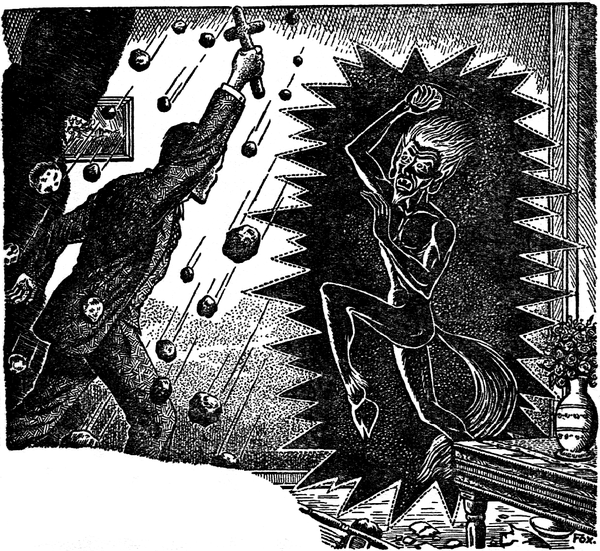 Drawing of a priest, holding a up a cross, confronting a recoiling poltergeist, shown in a jagged photo-negative-like aura.