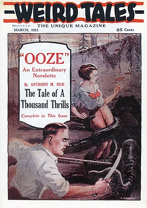 "Cover of the first issue of Weird Tales in March 1923. It features a dark-coloured octopus grappling with a woman with an armed man in the foreground.  The cover advertises the story ""Ooze"" by Anthony M. Rud."