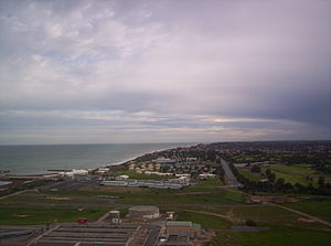 West Beach, South Australia - Southern West Beach, Adelaide Shores is in the midground, bisected by Military Road