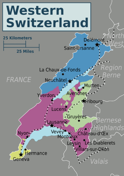 Map Of West France.Western Switzerland Travel Guide At Wikivoyage
