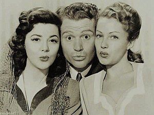 Whistling in Dixie - L-R: Ann Rutherford, Red Skelton, and Diana Lewis