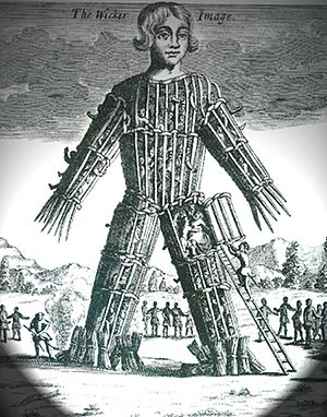 English: Wicker man, engraving
