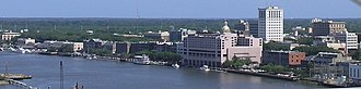 Savannah, Georgia - Downtown Savannah skyline from the Savannah River