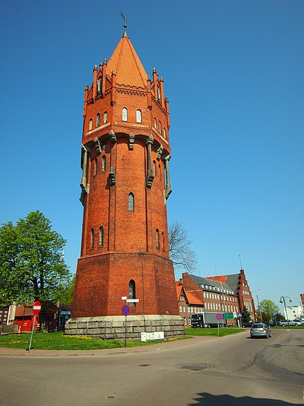 Neogothic water tower in Malbork, Poland, from 1905