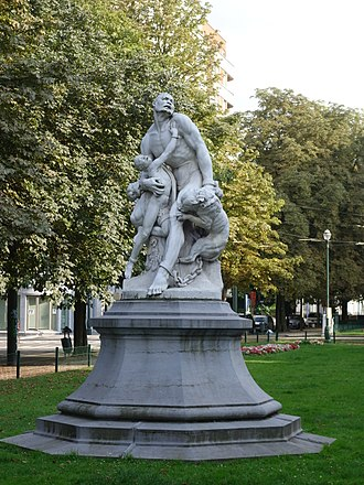 Maroon (people) - Maroons surprised by dogs (1893) (Brussels) by Louis Samain.
