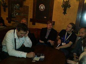 Wikimedia CEE Meetining 2012 Belgrade, in the club.jpg