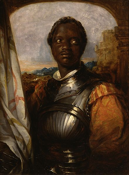 Artist William Mulready portrays American actor Ira Aldridge as Othello. The Walters Art Museum. William Mulready - Othello - Walters 372629.jpg