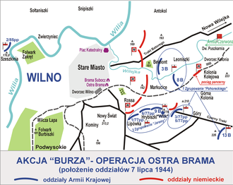 Operation Ostra Brama - Dislocation of Polish and German units at the start of the fighting