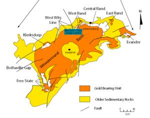Witwatersrand Basin - Witwatersrand Basin and major goldfields