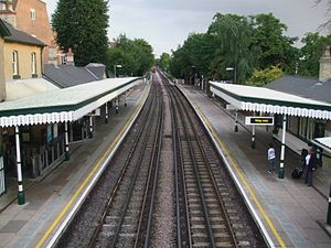 Woodside Park tube station - Station platforms viewed from the footbridge, facing south