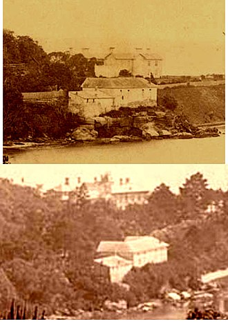 """Woollahra House - The two houses called Woollahra House. The top photo shows the first house built in 1856 by Sir Daniel Cooper, and the bottom photo, with the same outbuildings in the foreground but a larger house in the background, shows the second """"Woollahra House"""" built by William Charles Cooper in 1883"""