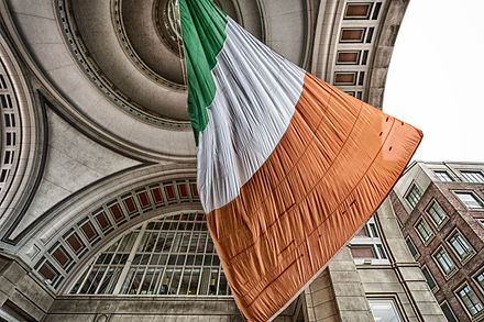 World's largest Irish flag in Boston. People who claim Irish descent constitute the largest ethnic group in New England. World's largest Irish flag--swaying in the wind (Boston, MA) (13202190293).jpg