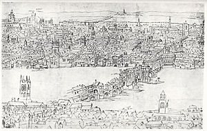 Anton van den Wyngaerde - London Bridge c. 1554-1557.