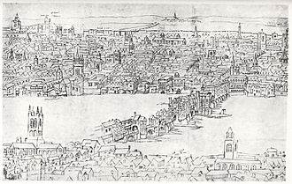 Anton van den Wyngaerde - Old London Bridge, c. 1554-1557.