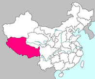 A map showing the location of Tibet