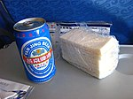 A can of Yanjing (燕京啤酒) Beer served onboard of an Air China plane Boeing-737