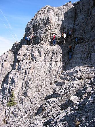 Traverse (climbing) - A marked traverse on Mount John Laurie / Yamnuska