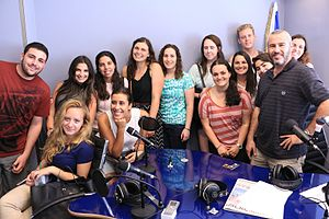 Yishai Fleisher - Yishai Fleisher with Hebrew University students at the Voice of Israel studios in Jerusalem