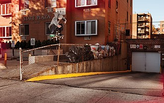 Zoo York (company) - Zoo York Skater Brandon Westgate doing a frontside flip in Queens, New York City.