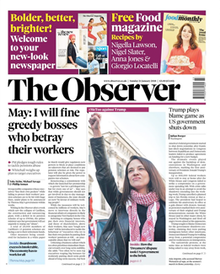 "Tudalen blaen The Observer yn dangos protestiwr a'r pennawd ""May: I will fine greedy bosses who betray their workers"""