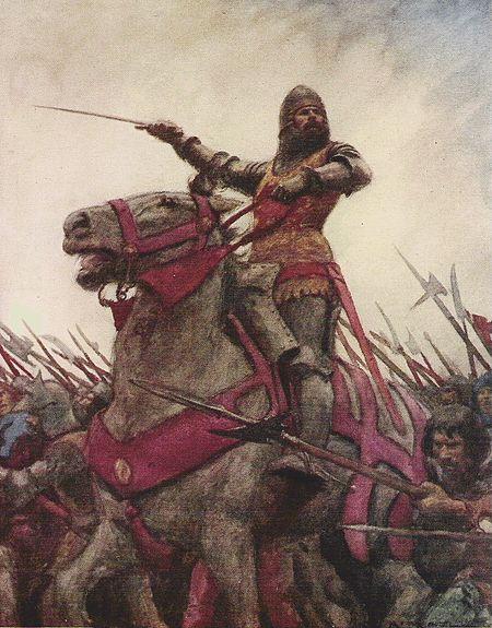 Llun enwog A.C. Michael yn dangos Owain yn arwain ei fyddin i'r gad.