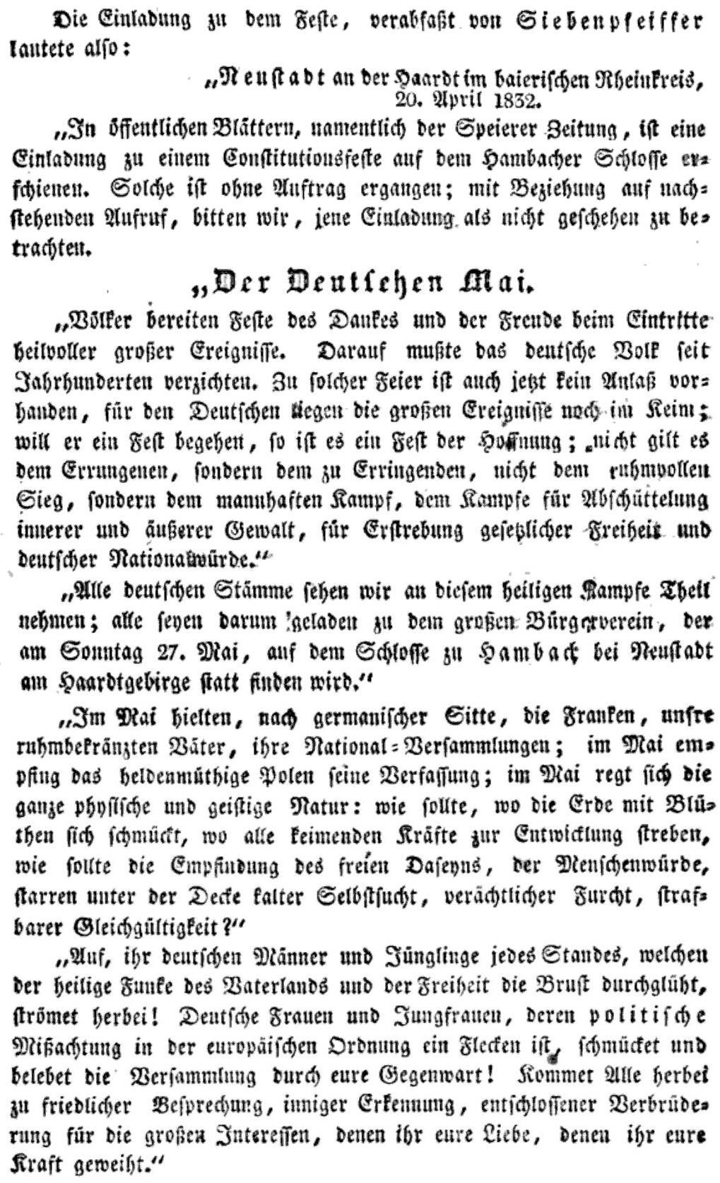 Hambacher Fest Einladung übersetzung in der Heutigen Deutschen