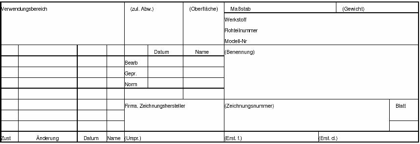schriftfeld technische zeichnung formular