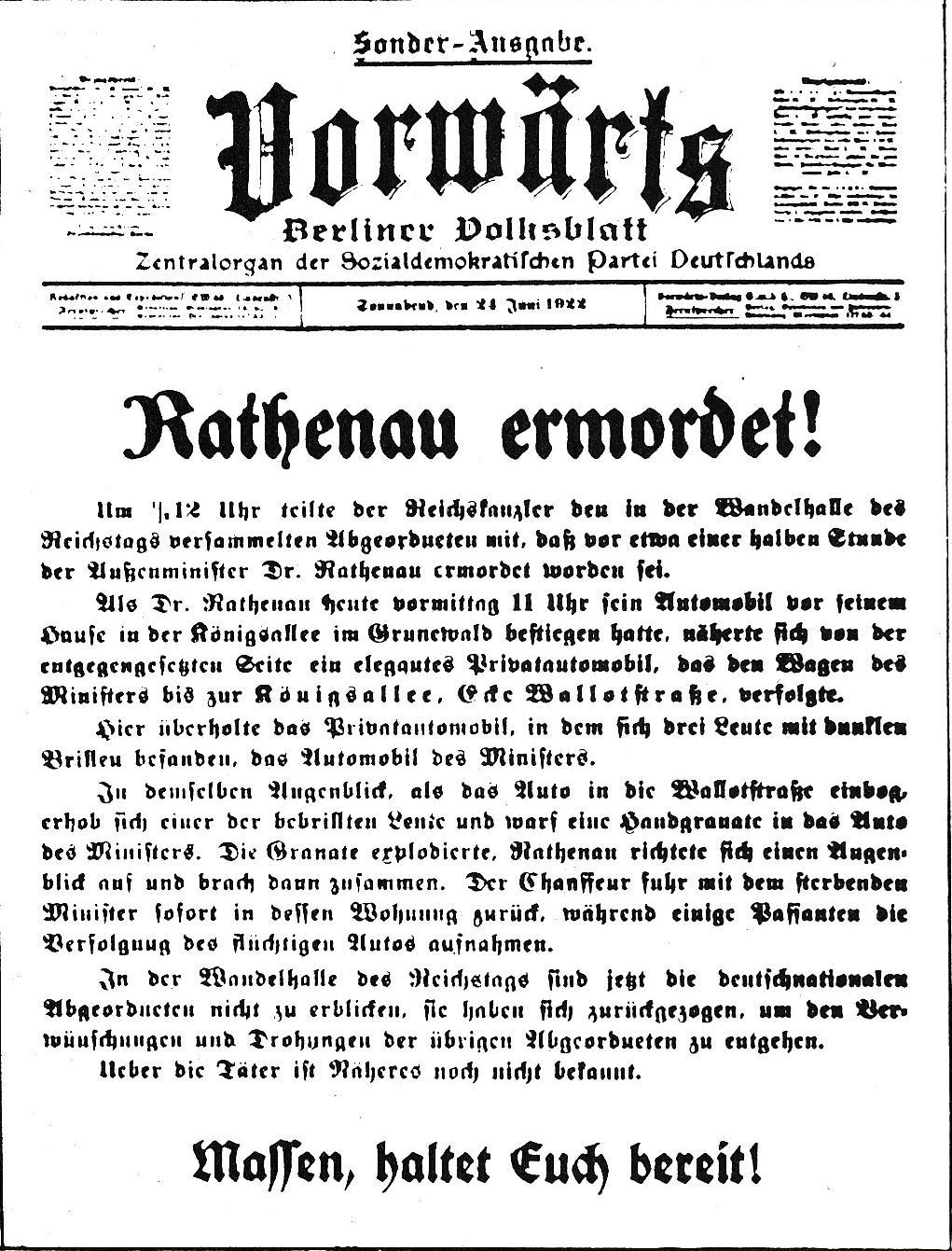 Vorwärts-Ausgabe zur Ermordung Walther Rathenaus
