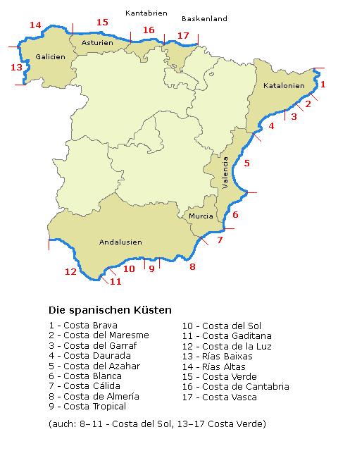 Costa Brava Costa Dorada Karte.Liste Der Spanischen Kusten Wikipedia