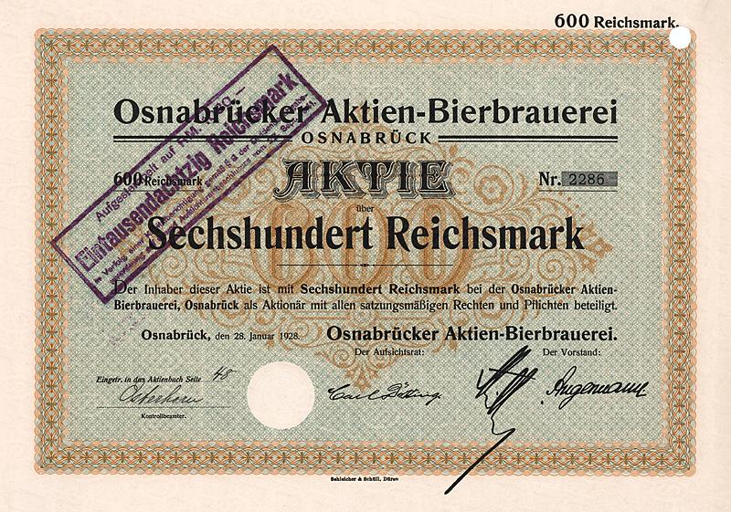 Börsenmantel Aktie: Osnabrücker Aktien-Bierbrauerei
