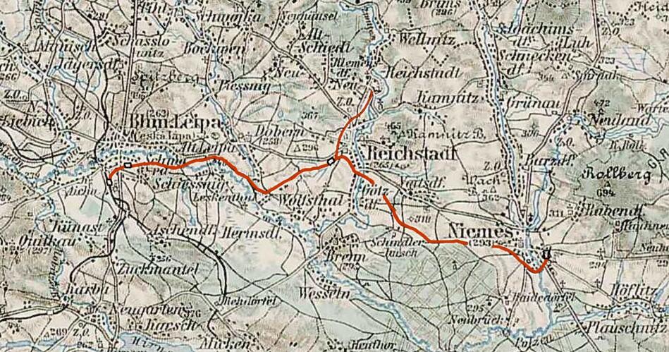 Strecke der Lokalbahn Böhmisch Leipa–Niemes
