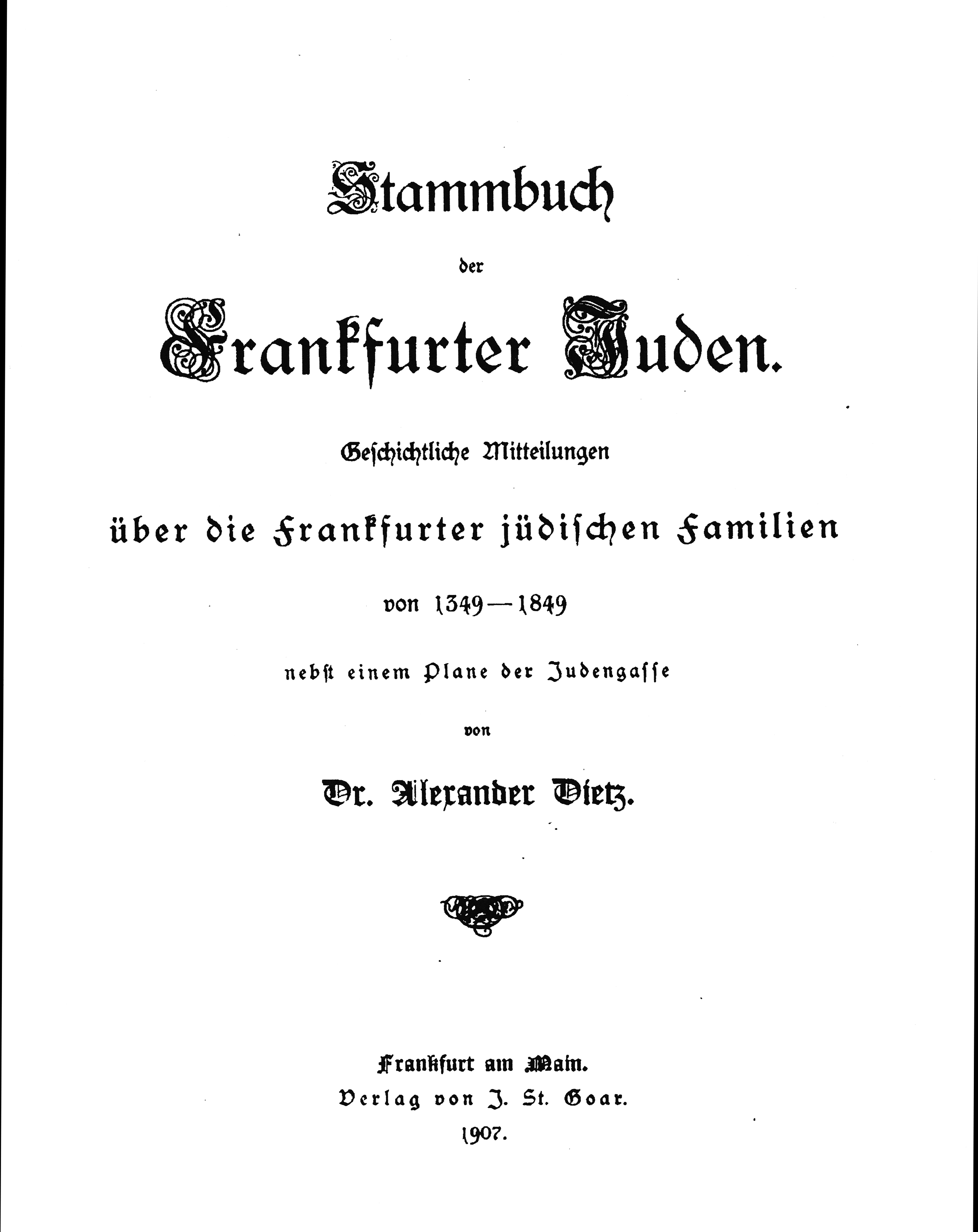 Datei:Stammbuch der Frankfurter Juden Deckblatt Alexander Dietz