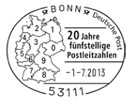 Commemorative rubberstamp with the zones for the first digit of German postal codes. Source: Wikipedia, Deutsche Post
