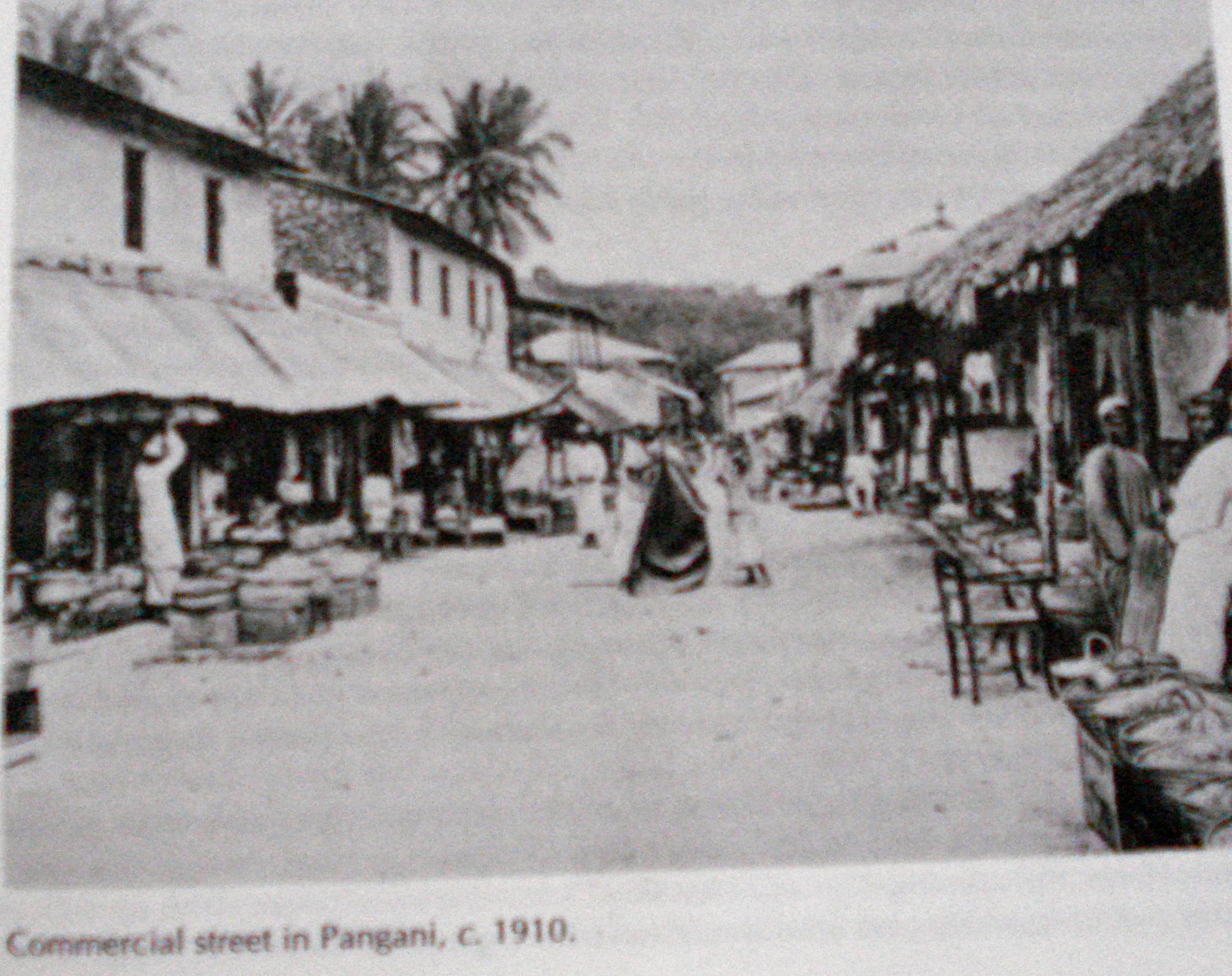 Geschäftsstraße in Pangani, ca. 1910