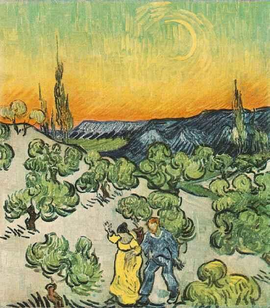 Vincent van Gogh: Spaziergang im Mondlicht -               Wikipedia