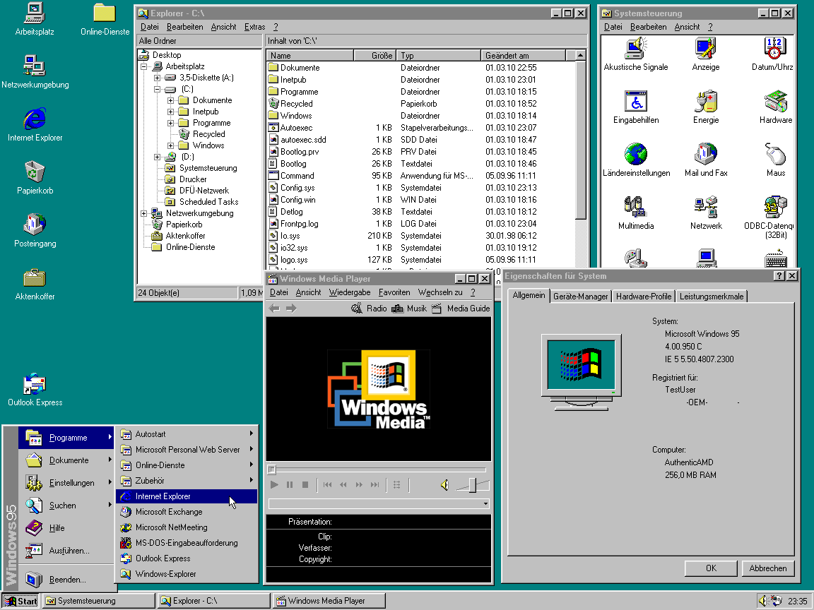 Screenshot von Microsoft Windows 95C (1297) - (C) Henry Mühlpfordt, gemeinfrei via Wikimedia Commons