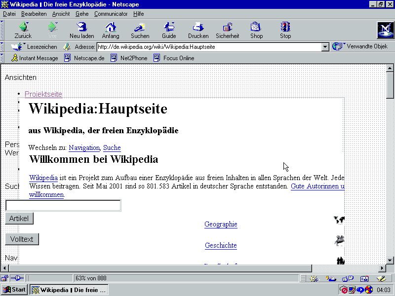 Netscape Browser auf Windows95. Quelle: Wikipedia