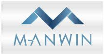 stilistisches blau/weißes M über stilistischem blau/weißem Schriftzug Manwin auf dicht grau gestreiftem Hintergrund