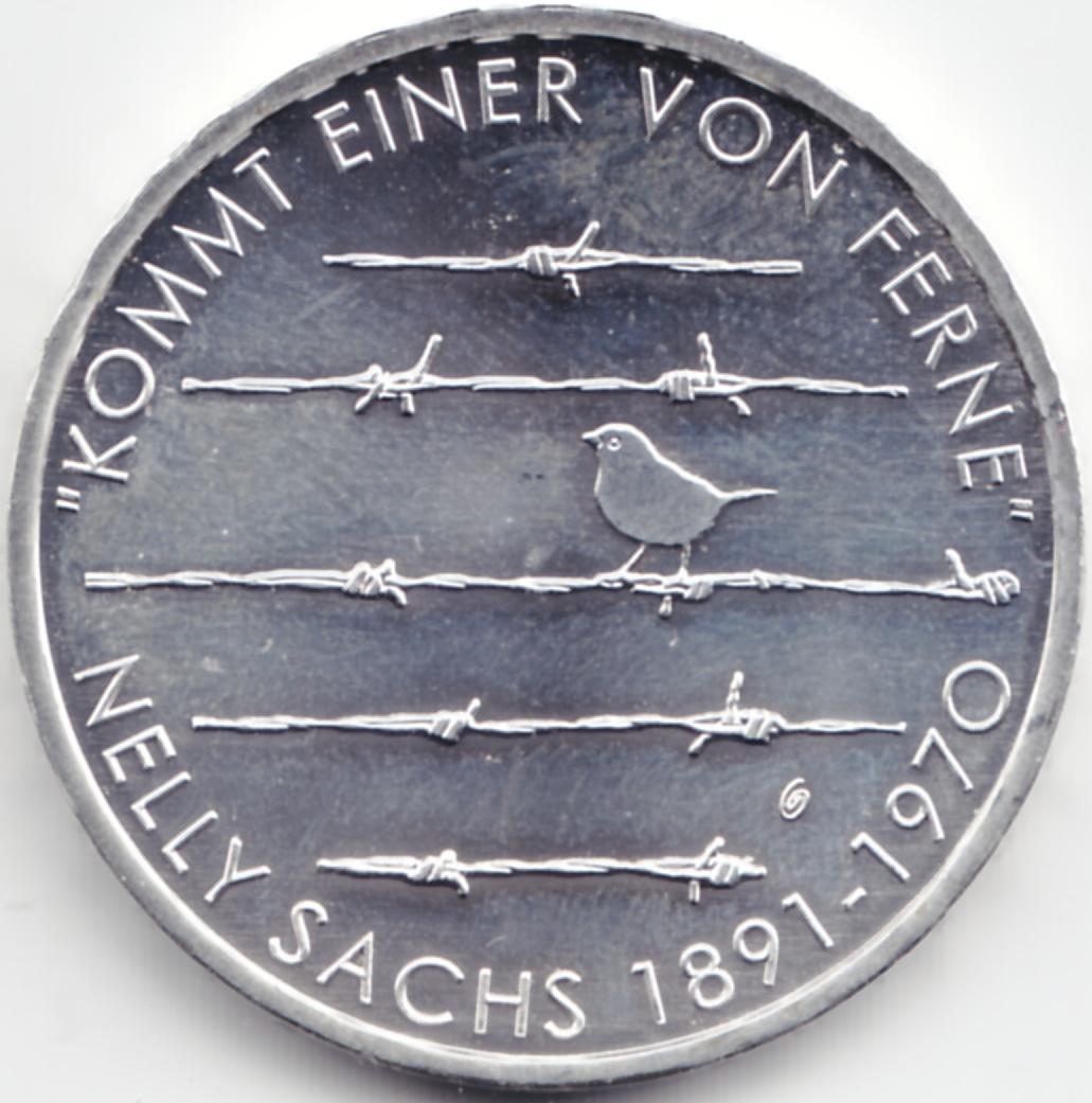 Datei20 Euro Münze Nelly Sachs Motivseitejpg Wikipedia