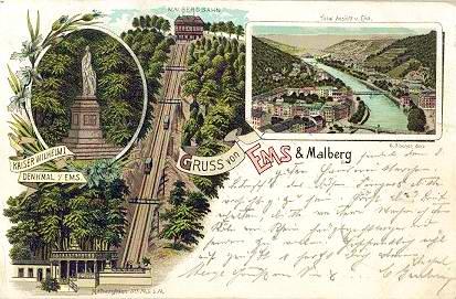 Postcard advertising the Malbergbahn in Bad Ems, 1899, public domain.