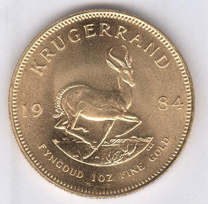 Kr&uuml;gerrand, 1 Unze (916 / 22kt.) 33,93 Gr. <br>Quelle und copyright:Wikipedia 2011