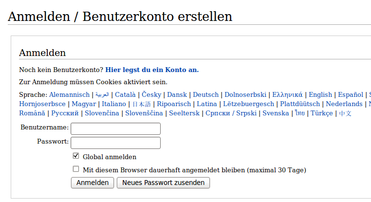 Login Deutsch